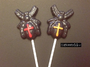 1304 Black Widow Spider Chocolate or Hard Candy Lollipop Mold