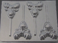 608 Moose Face Chocolate Candy Lollipop Mold