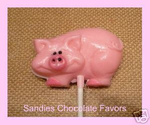 623 Pig Chocolate or Hard Candy Lollipop Mold