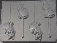 628 Cat Chocolate or Hard Candy Lollipop Mold