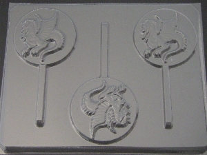 638 Dragon on Round Chocolate Candy Lollipop Mold