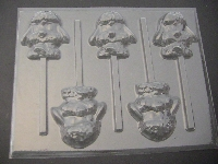 653 Lamb Face Chocolate or Hard Candy Lollipop Mold