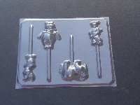 182sp Honey Bear Donkey Pig Tiger Chocolate or Hard Candy Lollipop Mold