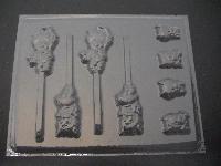 197sp Pork Chop Pig Boy and Girl Chocolate or Hard Candy Lollipop Mold