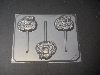 201sp Orange Cat Face Chocolate or Hard Candy Lollipop Mold