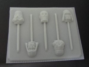 203sp Star Wonders Faces Chocolate or Hard Candy Lollipop Mold