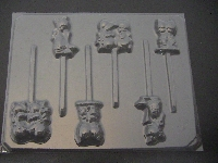 214sp Precious Seconds Kids Chocolate or Hard Candy Lollipop Mold