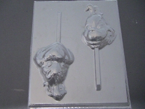 313sp Green Man Face Chocolate or Hard Candy Lollipop Mold
