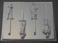 314sp Wild Man and Freeze Dude Chocolate or Hard Candy Lollipop Mold