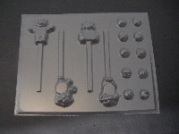 317sp Caring Bears with Bellies Chocolate Candy Lollipop Mold