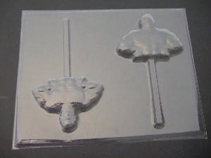 348sp Muscle Man Chocolate or Hard Candy Lollipop Mold