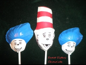 349sp Cat with Hat Friends Chocolate Candy Lollipop Mold