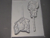 433sp Cat and Mouse Chocolate or Hard Candy Lollipop Mold