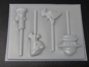 447sp Phiney Ferby Friends Chocolate or Hard Candy Lollipop Mold