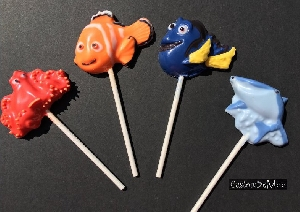 534sp Meno Fish and Dory Friends Chocolate or Hard Candy Lollipop Mold