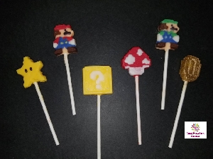 557sp 8-Bit Mario Chocolate or Hard Candy Lollipop Mold