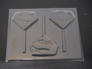 101sp S Man Emblem Chocolate or Hard Candy Lollipop Mold