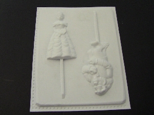 107sp Pretty Girl Ugly Man Chocolate or Hard Candy Lollipop Mold