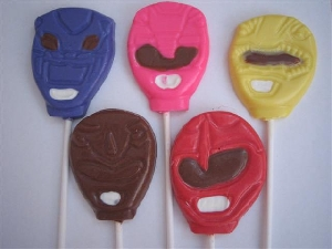 109sp Strong Rangers Face Chocolate or Hard Candy Lollipop Mold