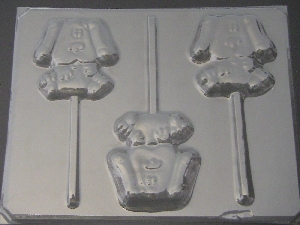 122sp Blue Dog Chocolate or Hard Candy Lollipop Mold