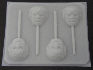 124sp Green Hunky Man Face Chocolate or Hard Candy Lollipop Mold