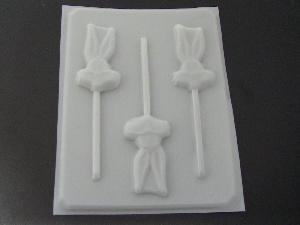 133sp Bunny Face Tall Ears Chocolate or Hard Candy Lollipop Mold