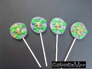 134sp Dancing Turtles Chocolate or Hard Candy Lollipop Mold