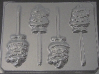 225 Waving Santa Chocolate or Hard Candy Lollipop Mold