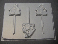 244 Gingerbread House Chocolate or Hard Candy Lollipop Mold