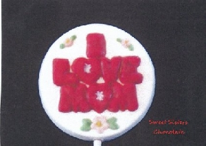 1604 I Love Mom Round Chocolate or Hard Candy Lollipop Mold