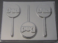 1103 Dad on Round Chocolate or Hard Candy Lollipop Mold