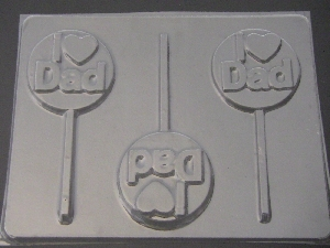 1105 I Heart Dad Love Chocolate or Hard Candy Lollipop Mold