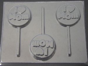 1607 I Heart Mom Chocolate or Hard Candy Lollipop Mold