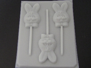 827 Cute Bunny Face Chocolate or Hard Candy Lollipop Mold
