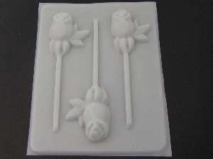 504 Rose with Calyx Chocolate or Hard Candy Lollipop Mold