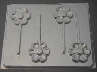 524 Retro Flower Chocolate or Hard Candy Lollipop Mold