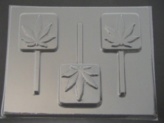 535 Bar Pot Leaf Marijuana Chocolate or Hard Candy Lollipop Mold