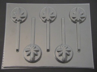 536 Round Pot Leaf Marijuana Chocolate or Hard Candy Lollipop Mold