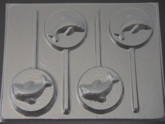 1705 Dolphin on Round Chocolate or Hard Candy Lollipop Mold