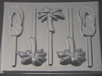 1716 Flip Flop and Palm Trees Chocolate Candy Lollipop Mold