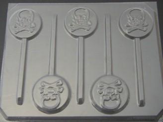 1714 Skull Crossbones Chocolate or Hard Candy Lollipop Mold