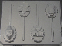 2053 Jewish Assorted Chocolate or Hard Candy Lollipop Mold