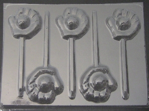 1403 Glove with Baseball Chocolate Candy Lollipop Mold