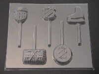1424 Hockey Theme Chocolate or Hard Candy Lollipop Mold