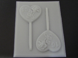 8512 Rose Heart Sweet 16 Chocolate or Hard Candy Lollipop Mold