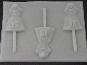 8509 Sweet 15 Girl Chocolate or Hard Candy Lollipop Mold