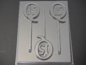 8510 Sweet 15 Q Chocolate or Hard Candy Lollipop Mold