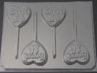 8515 Sweet 16 Heart Chocolate or Hard Candy Lollipop Mold