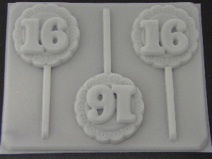 8516 Sweet 16 Lacy Round Chocolate or Hard Candy Lollipop Mold