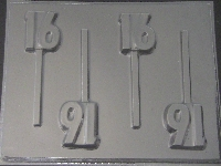 8518 Sweet 16 Chocolate or Hard Candy Lollipop Mold
